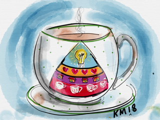 A cup of tea or refreshment with maslow's hierarchy of needs model on